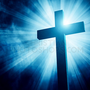Blue glowing cross