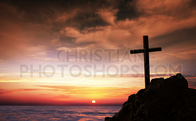 Cross by the ocean