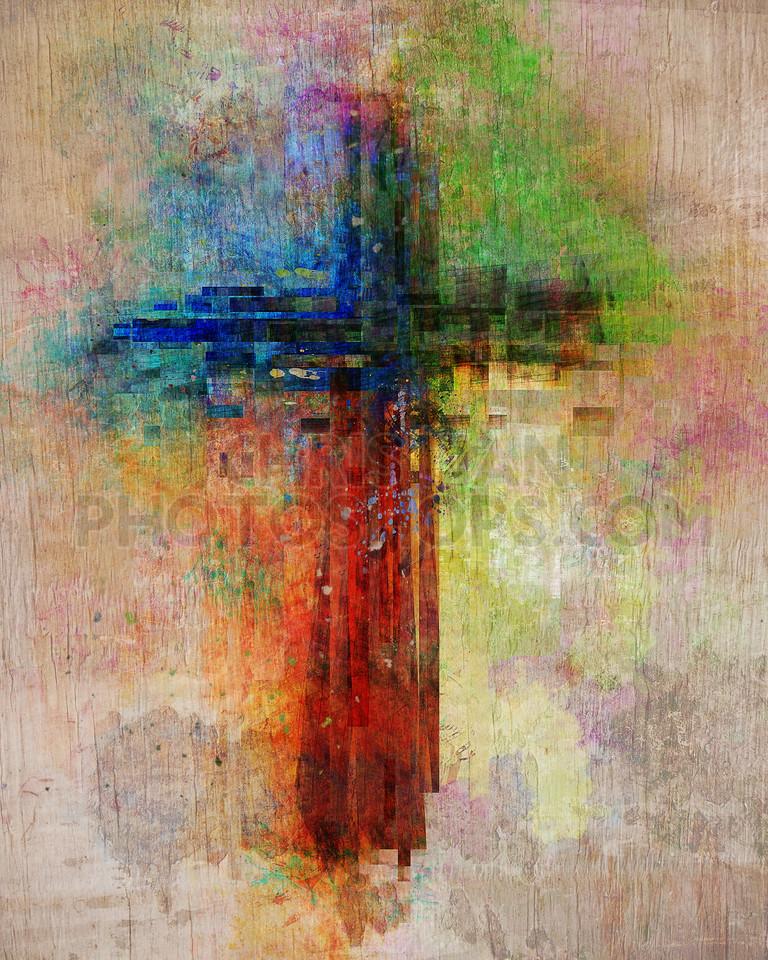 Cross paint splatters