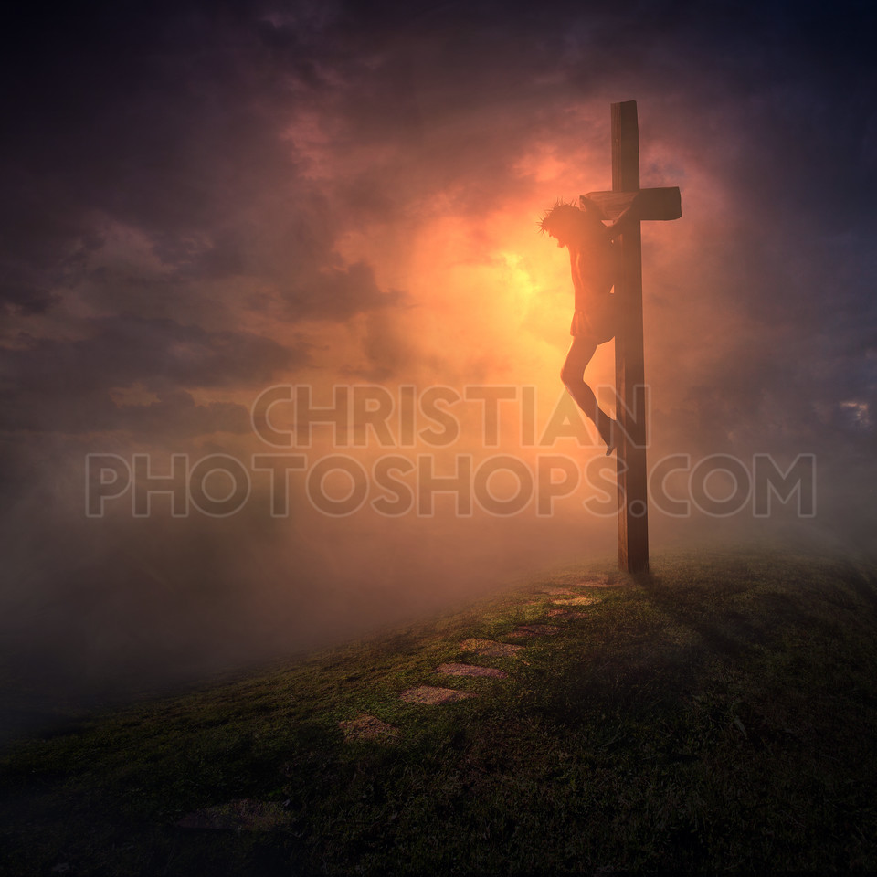 The cross with dark skies