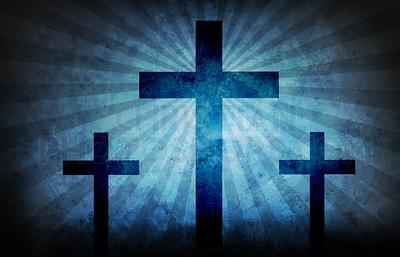 Three crosses grunge texture