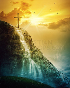 Cross and waterfall