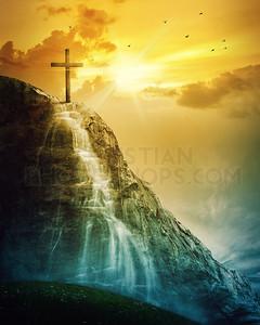 Cross and waterfall