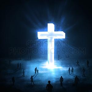 Large glowing cross
