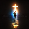 Man and glowing cross