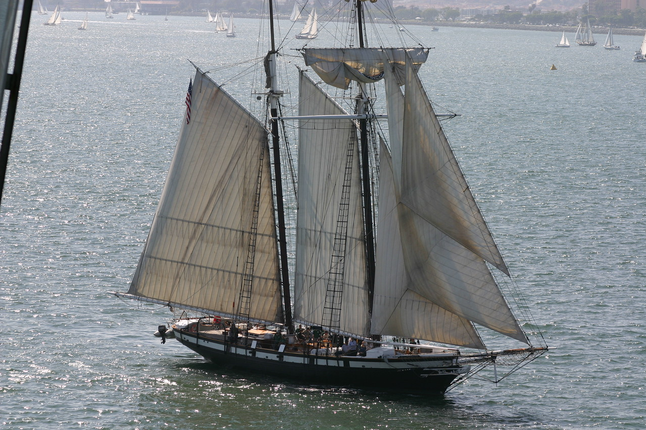 This ship took tours of the harbor. During it's tour a smaller boat come near it at a cannon if fired at it.