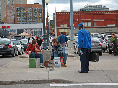 Drummers in Detroit Eastern Market District.