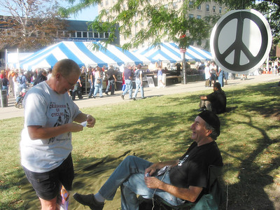 People moment. Shelley Varella and a peace protester.