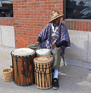 Entertainer in Detroit Eastern Market District.