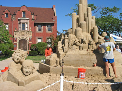 Local festival activity - building sand castles.