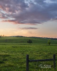 Green Hills and Red Skies - VA Farm Sunset II
