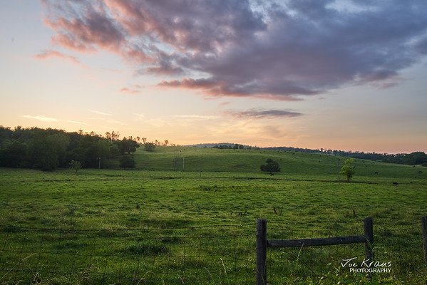 Green Hills and Red Skies - Farm Sunset