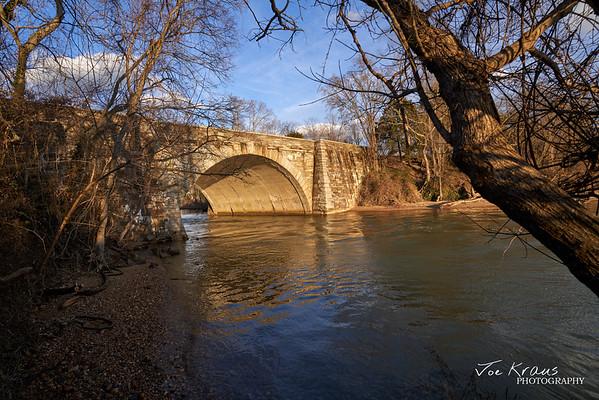 Potomac River Bridge at Sunset