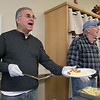 The Daily Bread has been serving up breakfast for the past 10 years at the Pilgrim Congregational Church in Leominster. Serving up some potatoes during the breakfast on Saturday, Nov. 9, 2019 was Mayor Dean Mazzarella. Next to him serving up eggs is Don Carter who has been doing this for 3 years. SENTINEL & ENTERPRISE/JOHN LOVE
