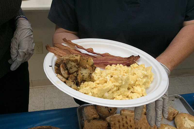 The Daily Bread has been serving up breakfast for the past 10 years at the Pilgrim Congregational Church in Leominster. One of the breakfast plates with bacon, potatoes and eggs. SENTINEL & ENTERPRISE/JOHN LOVE