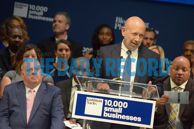 Lloyd C Blankfein, chairman and CEO of Goldman Sachs speaks to graduates of the pilot 10,000 Small Businesses training program. Goldman Sachs and Bloomberg Philanthropies Wednesday committed $10 m over five years to continue the small business training and mentoring program in Baltimore. Photo by Bryan Sears.
