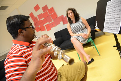 6-30-16 BALTIMORE, MD- Woodwinds teacher Jennifer Hughson working with student Bhaskar Chennuri. Photos from The Baltimore School of Music, which teaches classical instruments and voice to students of all ages. (The Daily Record/Maximilian Franz)