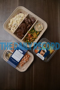 6.1.16 BALTIMORE, MD- Sample packages of some different Galley pre-packaged meals. (The Daily Record/Maximilian Franz)
