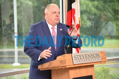7-6-17 OWINGS MILLS, MD- Governor Larry Hogan traveled to the Stevenson's Owings Mills North campus on July 6 for a press conference where he announced Stevenson University's acquisition of the Rosewood property. The event took place inside the Manning Academic Center. Senator Bobby Zirkin and new Stevenson University President Elliot Hirshman joined Gov. Hogan for remarks.  (The Daily Record/Maximilian Franz)