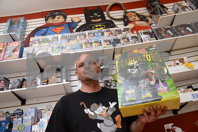 5.26.16 BALTIMORE, MD- Jason Barnes, owner of All Time Toys in historic Ellicott City, seen here holding a Dragonzord toy in box from 1993 in his shop that they are selling for $150. (The Daily Record/Maximilian Franz)