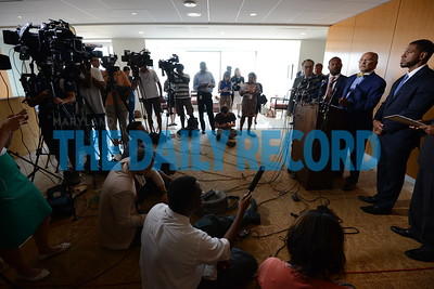 "09-09-15 BALTIMORE, MD- From Left, Dick Falcon, Partner; Hassan Murphy, Managing Partner; William ""Billy"" Murphy, Jr., Freddie Gray Family Lawyer; Jason Downs, Attorney; and Alexander Williams Jr., Retired Federal Court Judge, and mediator for the settlement. Here they are speaking at a press conference after the Baltimore City Board of Estimates approved the $6.4 Million settlement to the family of Freddie Gray. (The Daily Record/Maxmilian Franz)"