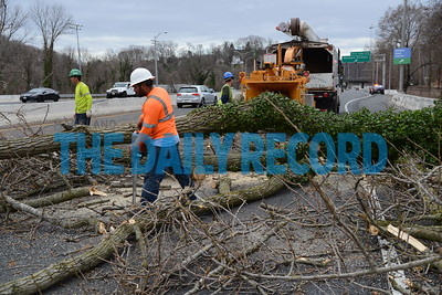 3.2.17 BALTIMORE, MD- The severe storm that blew through the Baltimore Area around 2pm downed a tree along the southbound lane of I-83 near the Northern Parkway exit. L. Johnson Tree Service, LLC, a contractor for the city, was called on the scene to remove the tree that damaged one vehicle in the incident with the driver walking away unharmed. (The Daily Record/ Maximilian Franz)