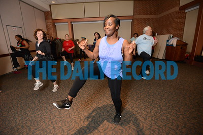 2.28.17 ANNAPOLIS, MD- Anne Arundel Medical Center employees working out in a Zumba class with Lakeisha Taharka, Zumba instructor and Nuclear Medicine/Pet CT Tech at AAMC.  (The Daily Record/ Maximilian Franz)