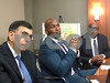 Attorney Phil Andrews, left, GTI Maryland investor and former Baltimore Raven Eugene Monroe, center, and GTI Maryland General Manager Sterling Crockett Sr. right, at a news conference in Baltimore announcing the company's lawsuit against Maryland medical cannabis regulators on Tuesday, September 20, 2016.