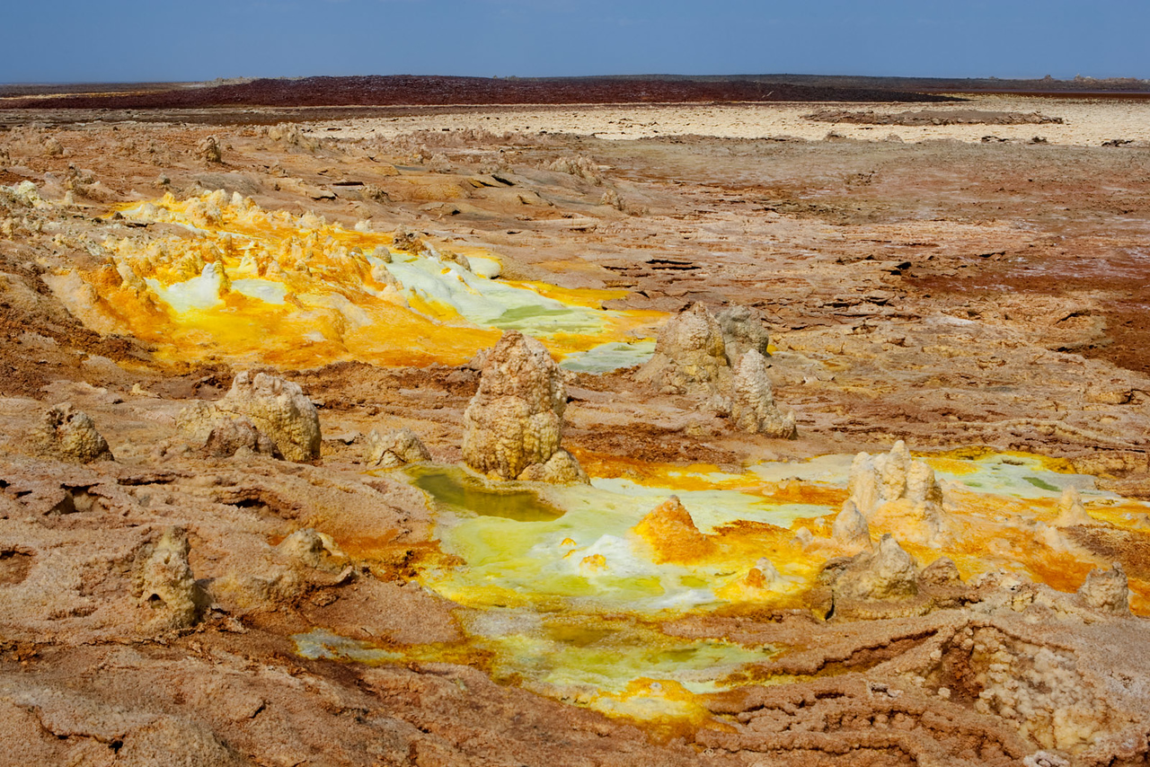 Sulphurous hot springs at Dallol. -116m (the lowest point of Danakil).