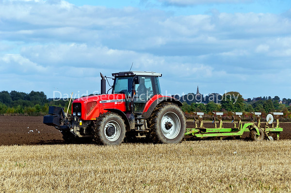 Simon Newby Driving His M/F 8280 & Dowdswell 5 Furow Plough taken at Walshford nr Wetherby.