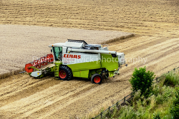 Simon Newby driving his Claas Lexon 430 combine taken at Wolshford nr Wetherby.