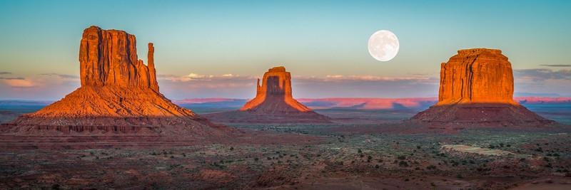 Monumental Moonrise: Mittens Shadows & Full Moon Monument Valley