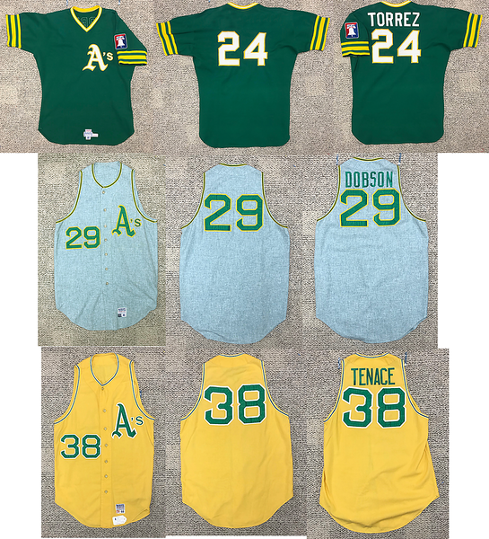 Three Oakland A's jerseys needing name on back restoration.