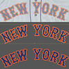 """I need to recreate the 1973-vintage wordmark, and from my archives I pulled a scan of a 1971 Mets road jersey. The top photo shows the exact copying of the design; in the one on bottom I have softened and repaired some of the distortion of the scanned art.  The bottom art is a vector file that will be sent to the computer-driven cutter and used """"as is"""", minor imperfections and all. The final orange outline is absolutely not graphically exact compared to the blue lettering, and we will make no attempt to make it perfect in our restoration."""