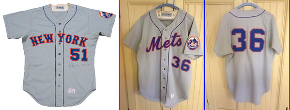 """You think the jersey of a star player would be treated with care and respect and cherished by a collector at season's end... and you would sadly be wrong. The Mets, like most other clubs in the 1970s-80s sent their used uniforms to the minor leagues to be reused...and reused...and reused. The original appearance of Koosman's road jersey was the arched fancy """"New York"""" at left. How it appeared when I received it is at right... while the back numbers had been left alone, the front had been changed."""