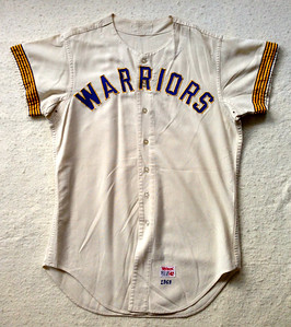 "After its MLB service was ended, this particular jersey went to the Brewers minor league system where it became a Danville Warriors jersey. There is no sign that ""BREWERS"" was ever sewn on the front of this jersey. This photo was supplied by Sherman, in its pre-restored state."