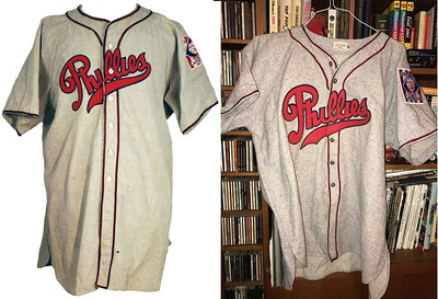 An original, unrestored 1939 Phillies jersey is on the left. My finished recreation is on the right. Follow along with the photo story to see how I did it.