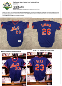 """We ALWAYS begin with a proof. The photo on top is a computer-generated mockup featuring Paul's jersey with the exact lettering superimposed on top. Though this may seem like an unnecessary step to some, it is vitally important to ensuring that the end result is exactly as my clients envision. The proofs become my cutting and placement pattern so that the end result will be just what you see here. When significant, I note the measurement of name and number placement. Normally, names go 3"""" from the collar and numbers 8""""... but in this case the Mets had their own rules, so we follow them when we can."""
