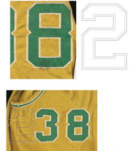 So, where do I get the art for the replacement lettering? I have a massive archive of auction photos to work from. I combine that with scans of the ancient shadows on the garment from old lettering to make sure what I am recreating is as original as possible.