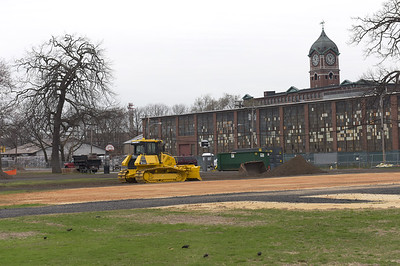 TIM JEAN/Staff photo  The South Common in Lawrence baseball feilds are being restored where travel trailers house displaced residents after the Sept. 13 gas explosions and fires. Columbia Gas said it would make any necessary repairs to the area that resulted from the use.     4/18/19