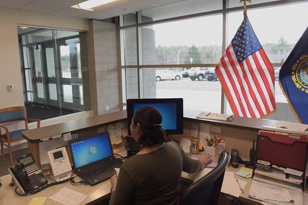 TIM JEAN/Staff photo  A Salem High School receptionist has a clear view of people before they enter the school. They also use a video security intercom system before anyone is let into the building. Schools across the country have inproved safety measures after the shootings at Columbine High School in Littleton, Colorado on April 20, 1999.    4/19/19