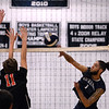 CARL RUSSO/Staff photo. Lawrence's Miguel Camacho spikes the ball over the net. Lawrence defeated North Andover in three straight games in volleyball action. 4/25/2018
