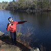 TIM JEAN/Staff photo<br />   <br /> DJ Repetto, 13, of Andover, checks his line during the Andover Sportsmen's Club annual fishing derby at Sudden Pond in Harold Parker State Forest.  4/21/18