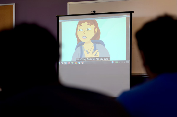 TIM JEAN/Staff photo  Teenagers who are members of the Lawrence Boys & Girls Club watch a video during a roundtable discussion with Lt. Governor Karyn Polito on the RESPECTfully statewide public awareness campaign. The campaign is on social media geared towards kids.  8/22/19