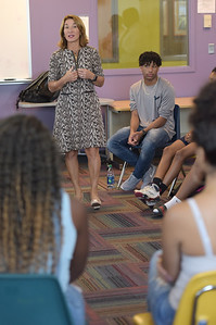 TIM JEAN/Staff photo  Lt. Governor Karyn Polito speaks with teenagers who are members of the Lawrence Boys & Girls Club during a roundtable discussion on the RESPECTfully statewide public awareness campaign. The campaign is on social media geared towards kids.  8/22/19