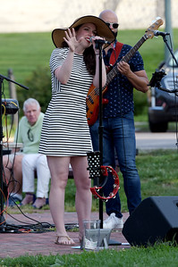 TIM JEAN/Staff photo  Katrina Marie and her band perform during Andover's Concerts in the Park series.   8/22/19