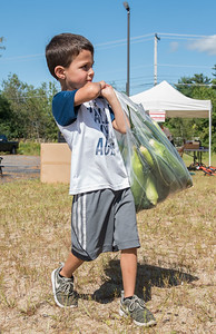 AMANDA SABGA/Staff photo  Damian Leon,4, of Londonderry carries a bag of fresh picked corn to the winning bidder during the 41st Annual Derry Rotary Club Auction at the Fireye parking lot in Derry.   8/24/19