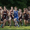 CARL RUSSO/staff photo. Salem sophomore Jackson Mazejka, who captured third place in the cross country meet against Alvirne and Timberlane at Timberlane high school is the lone Salem runner at the start of the race.9/4/2018