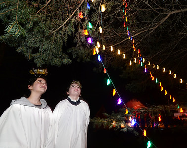 CARL RUSSO/Staff photo. St. Joseph School choir members, Isabella Berard, left,  8th. grader and Erin Olverson, 6th. grader take a close look at the tree. They were dressed as angels along with other members of the choir while singing during the ceremony.   The 65th annual Christmas tree lighting and nativity scene ceremony, hosted by Salem Lions Club, was held Wednesday night (11/28/18) at Salem's Veterans' Park.  After the ceremony, Mrs. Claus greeted the children while they enjoyed cookies and hot cocoa. Santa was sick in bed with a bad cold. 11/28/2018