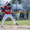AMANDA SABGA/Staff photo<br /> <br /> North Andover's Sebastian Keane winds up while at bat during a game between Haverhill High School and North Andover High School at North Andover.<br /> <br /> 4/23/17